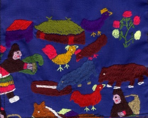 A picture embroidered by Christian Hmong living in Laos.  Our teacher bought this at www.christianfreedom.org.